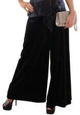 Ladies Evening Wide Leg Party Trousers Black Velvet Palazzo Style By MontyQ
