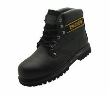 "New Men's Steel Toe Work Boots 6"" Black Leather Oil Resistant Ankle Shoes Black"