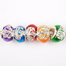 Clear Rhinestone Bright Silver Flower Charms Alloy Beads For European Bracelets