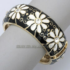 Z2-A166 Fashion Flower Glaze Rhinestone Floral Hinged 18KGP Bracelet Bangle Cuff
