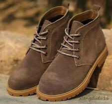 Retro Men' Leather Fleece Oxford Lace-up Chunky heels Desert Hiking Ankle Boots
