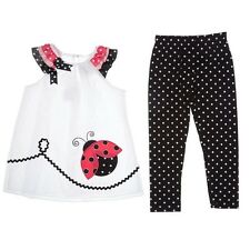 Rare Editions Girls 2T 3T Pink Black Ladybug Dress Leggings Boutique Outfit