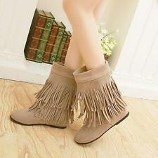 Women' Tassels Faux Suede Mid-calf Boots Pull on Wedge Med-heels shoes Plus Sz #