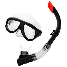 Adult Diving Silicone Tempered Glass Lenses Mask Dry Snorkel Set