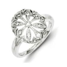 Sterling Silver .15 CT Diamond Flower In Oval Ring 2.63 gr Size 6 to 8