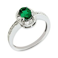 Sterling Silver .01 CT Diamond Created Emerald May Birth Ring 2.13 gr