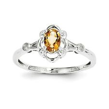 Sterling Silver Citrine & .02 CT Diamond November Birthstone Ring Size 5 to 10