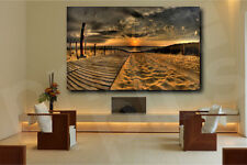 Golden Sunset On The Beach Canvas or Giclee Print Wall Decor