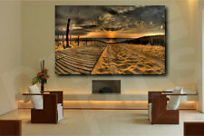 Golden Sunset On The Beach Road Canvas Poster Art Print Home Wall Decor