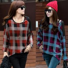 Women Plaids Checks T-shirt Long Sleeve Casual Loose Top Blouse Denim Jeans WT88
