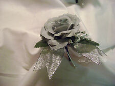 Ivory*Silver*Rose Bud*Open Rose Boutonniere*corsage*Wedding*Prom*Quinceanera