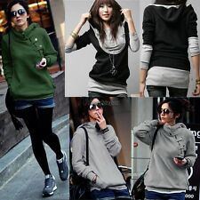 Women Gray Hoodie Hoody Casual Long Sleeve Sweatshirt Top Outwear Coat WT88