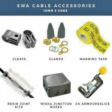 SWA CABLE 10MM 3 CORE ARMOURED CABLE GLANDS, CABLE CLEATS, JOINTS, WARNING TAPE