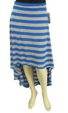 Awake Couture Heather Gray Blue Striped Hi Lo Jersey Maxi Skirt