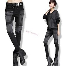 Women Casual Vintage Cargo Hot Punk Pieced Patch Trousers New Skinny Jeans Pants