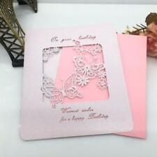 10/lot Handmade HAPPY BIRTHDAY Greeting Card Hollowed Butterfly Gift-Pink/Ivory