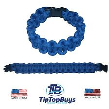 550 Paracord Survival Bracelet Royal Blue Cobra Camping Military