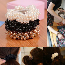 New Fashion Rope Scrunchie Ponytail Holder Women Pearl Beads Hair Band Elastic