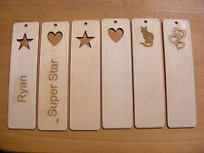 BOOKMARK HEART STAR CAT WOODEN ENGRAVED PERSONALISED NAME BIRTHDAY GIFT PRESENT