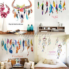Wall Sticker Vinyl Birds Flying Feather Bedroom Home Decal Mural Art Decor White