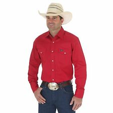 Wrangler Mens Cowboy Cut Long Sleeve Work Shirt Red
