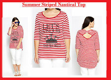 New YOURS Summer Red & White Striped Top PLUS SIZE 18-28 LOOK evans be very