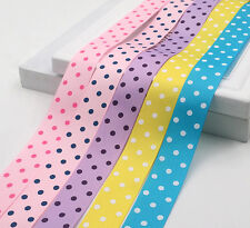 "Wholesale 7/8"" 22mm Polka Dots Print Grosgrain Ribbon for Bow Crafts 100yds/Roll"