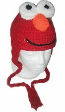 ELMO Sesame St.Crochet Handmade Hat with Earflaps.All Sizes.New.Made to Order.
