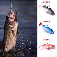 New Silicone Lures Worm Fishing Baits Bass Trout Shad Crank Swim Bait 3-Color