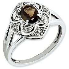 Sterling Silver Oval Smoky Quartz & .05 CT Diamond Ring 2.85 gr Size 5 to 10