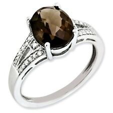 Sterling Silver Oval Smoky Quartz & .10 CT Diamond Ring 2.44 gr Size 5 to 10