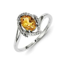Sterling Silver Oval Cut Citrine & .10 CT Diamond Ring 1.76 gr Size 6 to 8