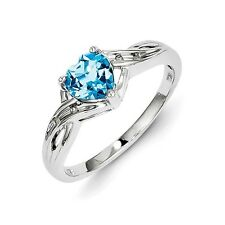 Sterling Silver Blue Topaz & .02 CT Diamond Heart Ring 2.38 gr Size 6 to 9