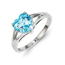 Sterling Silver Blue Topaz Heart Ring 1.68 gr Size 6 to 8