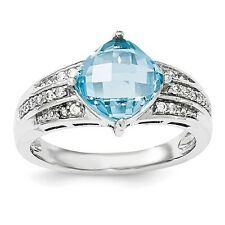 Sterling Silver Square Cut Blue Topaz & Clear CZ Ring 3.83 gr Size 6 to 8
