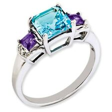 Sterling Silver Square London Blue Topaz & Amethyst Ring 2.38 gr Size 5 to 10