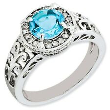Sterling Silver Round Light Blue Topaz .12 CT Diamond Ring 2.93 gr Size 5 to 10