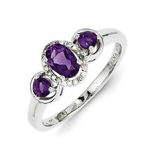 Sterling Silver Three Stone Amethyst .08 CT Diamond Ring 1.80 gr Size 6 to 9