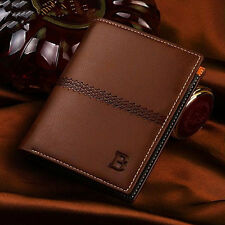 Bifold Mens Leather ID Card Holder Wallet Billfold Handbag Slim Clutch CHI