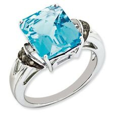 Sterling Silver Square Light Blue Topaz & .03 CT Diamond Ring Size 5 to 10
