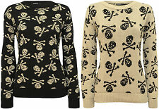 New Womens Skull Bones Print Long Sleeve Top Ladies Knitted Sweater Jumper