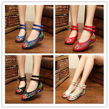 Embroidered Shoes High Heeled Shoes Canvas Shoes Woman Slipsole 4 Colors Pick