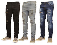 Mens G 72 Ripped Slimfit Skinny Jeans Stretch Denim Distress Frayed Biker Jeans