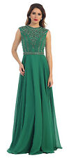 Plus Size Long Sleeveless Sequins Pleated Chiffon Formal Evening Party Dress