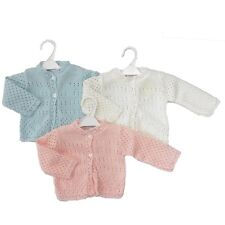 KNITTED BABY CARDIGANS WHITE/PINK/BLUE Pemature 3-5lbs 0-3 3-6 & 6-9 months