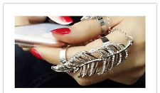 New European Fashion Gold Silver Plated Carved Leaf Crystal Double Chain Rings