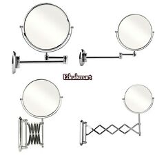 Two-Sided 7x Magnifying Wall Mount Swivel Make up Shaving Mirror Extendable