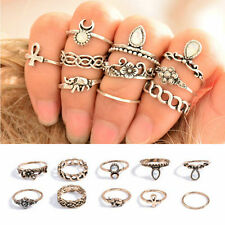 Knuckle Punk Vintage Rings Tribal Ethnic Hippie Stone Joint Ring Set for Women