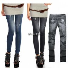 Women Footless Blue Skinny Denim Jeans Look Leggings Jeggings Printed Pant BF