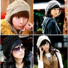 Cute Women Slouchy Beret Braided Baggy Beanie Crochet Hat Ski Knit  Cap  TXSU